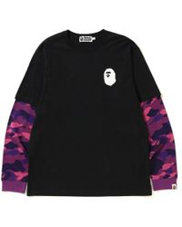 7d48ca15 A Bathing Ape Color Camo Ape Head Layered L/s Tee Black/red in Black ...