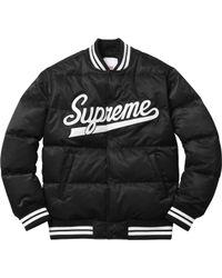 Supreme - Script Varsity Puffy Jacket Black - Lyst