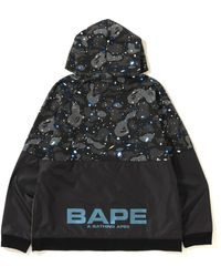 A Bathing Ape Space Camo Wide Side Zip Pullover Hoodie - Black