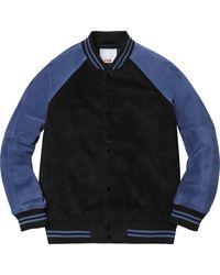 Supreme Suede Varsity Jacket - ブルー