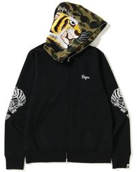 A Bathing Ape Tiger Embroidery Full Zip Hoodie - ブラック