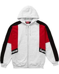 Supreme Color Blocked Zip Up Hooded Sweatshirt - レッド