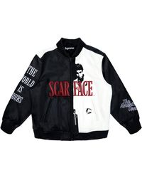 Supreme Scarface Embroidered Leather Jacket - Black