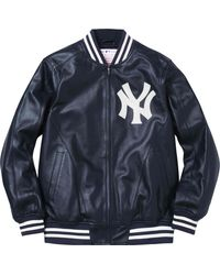 Supreme Yankees Leather Varsity Jacket - ブルー