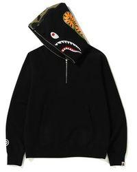 A Bathing Ape Shark Wide Half Zip Pullover Hoodie - Black