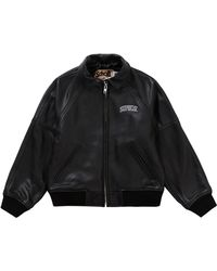 Supreme Schott Martin Wong 8 Ball Leather Varsity Jacket - Black