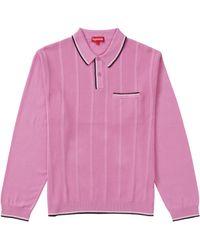 Supreme Stripe Rib L/s Knit Polo - Pink