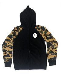 A Bathing Ape Premium Happy New Year 1st Camo Sleeves Full Zip Hoodie (ss20) - ブラック