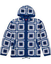 Supreme Crochet Hooded Zip Up Sweater - ブルー