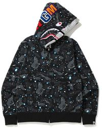 A Bathing Ape Space Camo Shark Full Zip Double Hoodie - ブラック