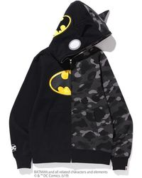 A Bathing Ape X Dc Batman Split Color Camo Full Zip Hoodie #2 - Black