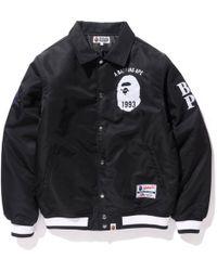 d5d7c72f5419 Lyst - A Bathing Ape Majestic Satin Varsity Jacket in Black for Men