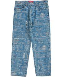 Supreme Checks Embroidered Jean - Blue