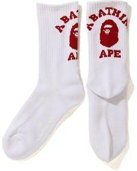 A Bathing Ape University Socks - White