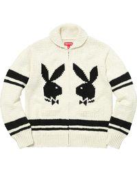Supreme Playboy Shawl Collar Full Zip Sweater - Natural