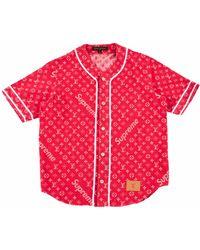 Supreme X Louis Vuitton Jacquard Denim Baseball Jersey - Red