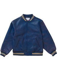 Supreme Worn Leather Varsity Jacket - ブルー