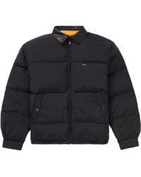 Supreme Leather Collar Puffy Jacket - Black