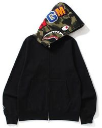 A Bathing Ape Shark Full Zip Hoodie Camo Hood - ブラック
