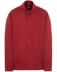 Stone Island Shadow Project Chemise Manches Longues Grenat Coton - Rouge
