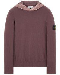 Stone Island Sweater Schwarz Baumwolle, Elastan - Lila