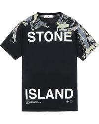 Stone Island T-shirt A Maniche Corte Polvere Mélange Cotone - Blu