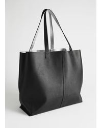 & Other Stories Reversible Metallic Leather Tote Bag - Black