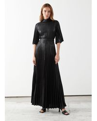 & Other Stories Belted Pleated Maxi Dress - Black