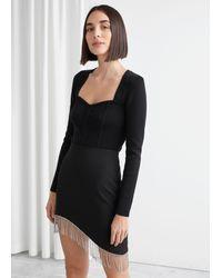 & Other Stories Asymmetric Diamanté Mini Skirt - Black