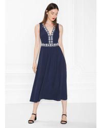 & Other Stories - Embroidered Midi Dress - Lyst