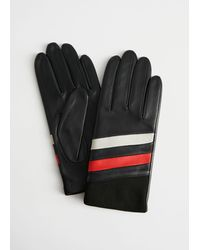 & Other Stories Color Block Striped Leather Gloves - Blue