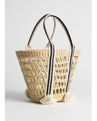 & Other Stories Woven Straw Bucket Bag - Natural