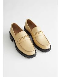 & Other Stories Rope Chain Leather Loafers - Yellow