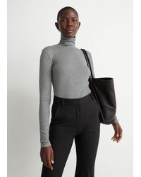 & Other Stories Fitted Lyocell Ribbed Turtleneck - Grey