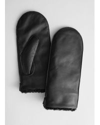 & Other Stories Leather Faux Shearling Mittens - Black