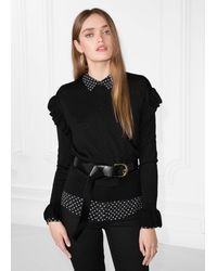 & Other Stories Frill Merino Wool Sweater - Black