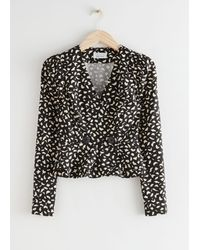& Other Stories Buttoned Peplum Wrap Blouse - Black