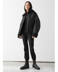 & Other Stories Buttoned Boxy Faux Fur Sherpa Jacket - Black