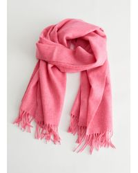 & Other Stories Fringed Wool Blanket Scarf - Pink