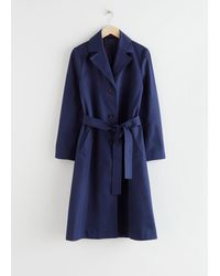 & Other Stories Belted A-line Twill Trenchcoat - Blue