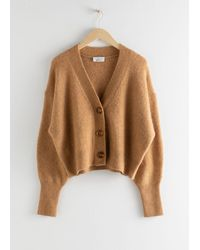 & Other Stories Alpaca Blend Puff Sleeve Cardigan - Natural