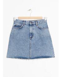 & Other Stories Raw Edge Denim Mini Skirt - Blue