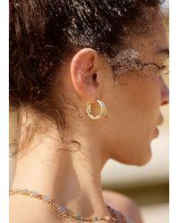 & Other Stories Embossed Hoop Earrings - Metallic