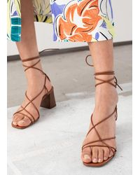 & Other Stories Leather Strappy Lace Up Heeled Sandals - Orange