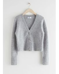 & Other Stories Bee Button Alpaca Blend Cardigan - Gray