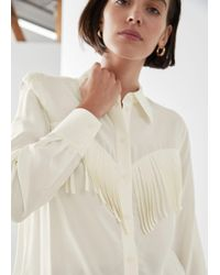 & Other Stories Button Up Fringe Shirt - White