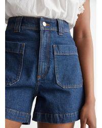 & Other Stories Patch Pocket Denim Shorts - Blue