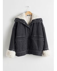 & Other Stories - Denim Faux Shearling Jacket - Lyst