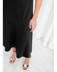 & Other Stories Midi Slip Dress - Black