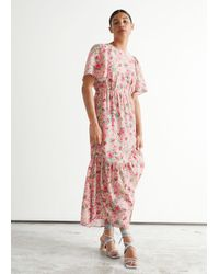 & Other Stories Printed Puff Sleeve Maxi Dress - Multicolour